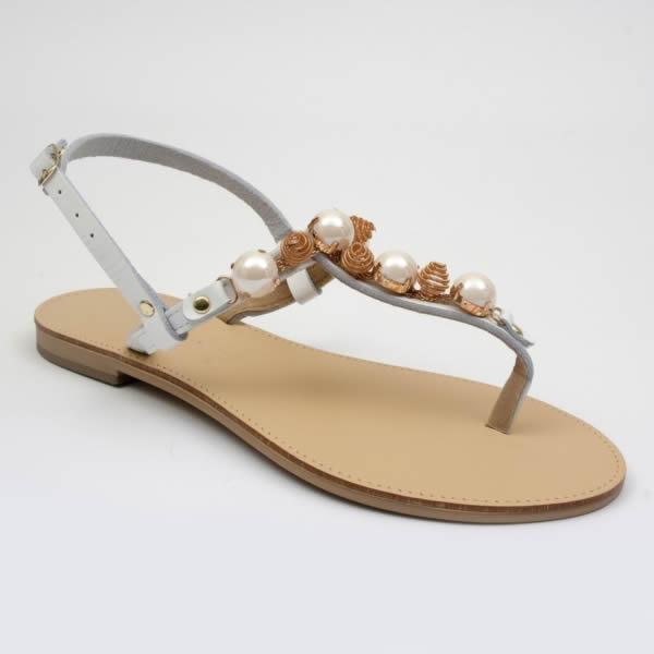 Sandalo Donna Con Perle E Roselline Gioiello nwvmN80