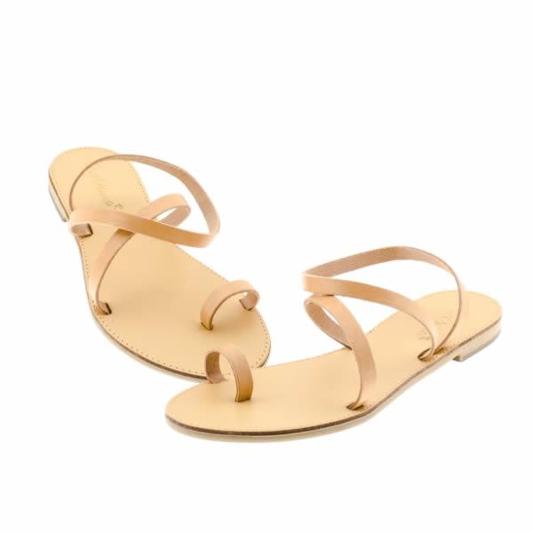 888a19ab16 Sandalo basso donna modello infradito in cuoio naturale