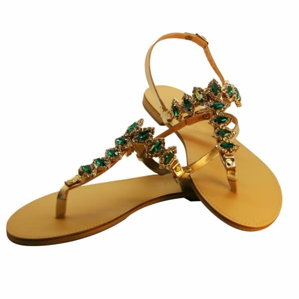 Sandalo donna gioiello infradito dorato con pietre verdi